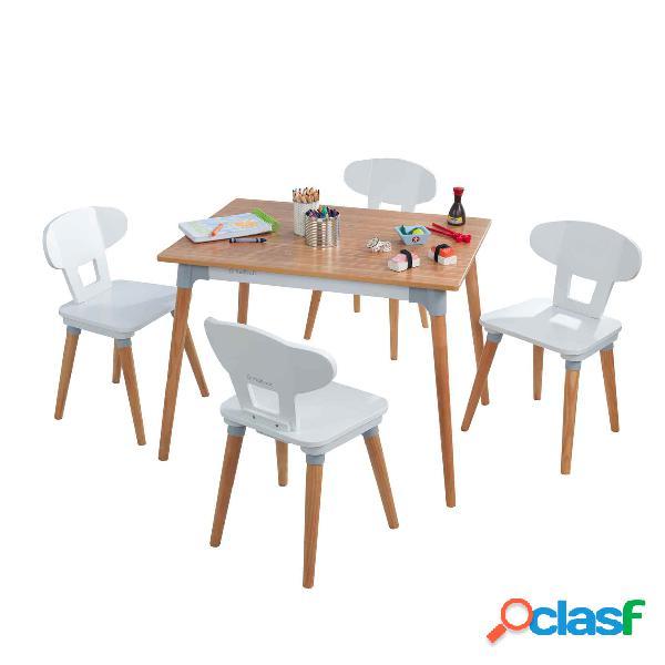 Juego de mesa y cuatro sillas Mid-Century Kid