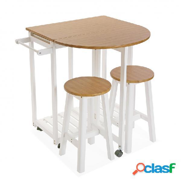 Juego mesa y dos taburetes
