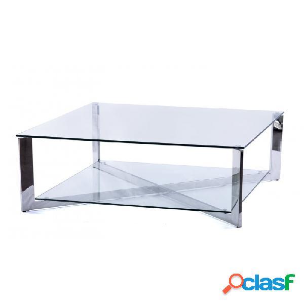 Mesa De Centro Plata Cristal Acero Y 100 X 40