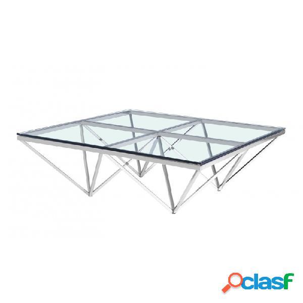 Mesa De Centro Plata Cristal Acero Y 105 X 40