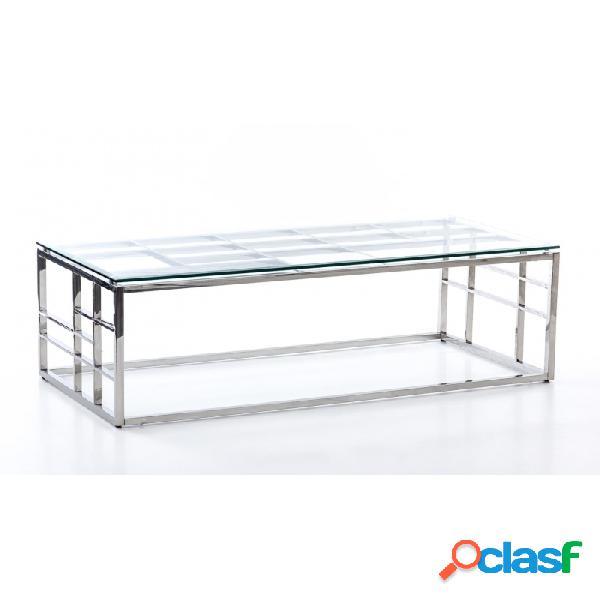 Mesa De Centro Plata Cristal Acero Y 120 X 60 45