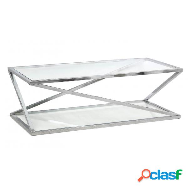 Mesa De Centro Plateado Cristal Acero Y 120 X 60 45