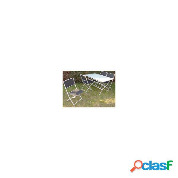 Mesa plegable rectangular 130 x 75 cm hierro con cristal