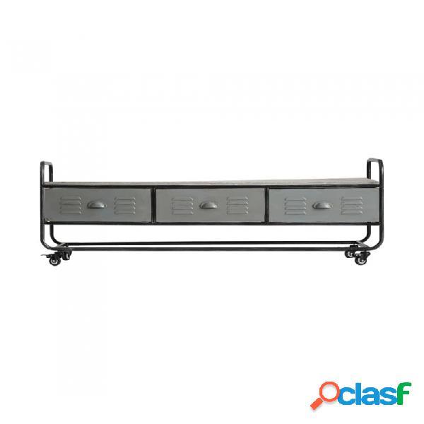 Mueble De Tv Gris Hierro Y Madera Industrial 150 X 40 50