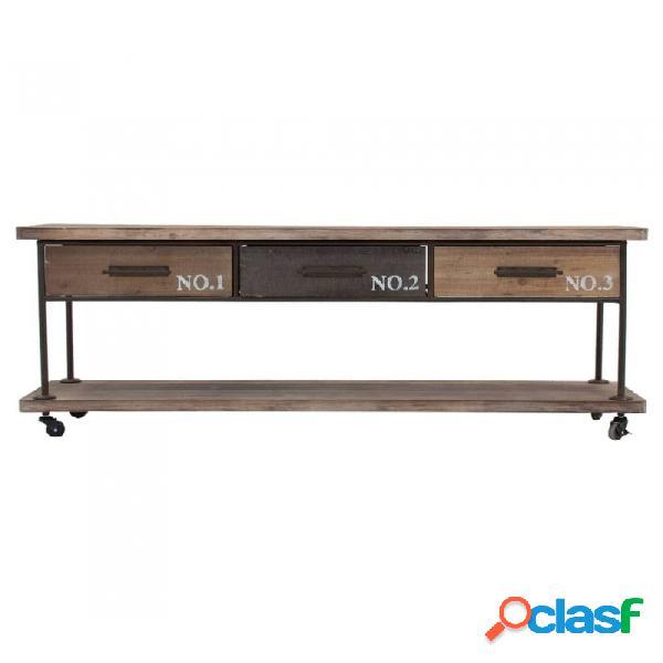 Mueble De Tv Natural Hierro Y Madera Industrial 160 X 41 61