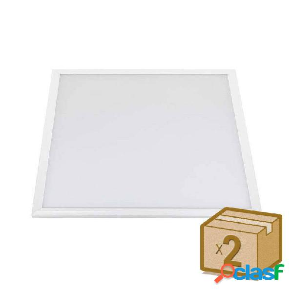 Pack 2 x panel led 40w + tuv driver 60x60 cm marco blanco
