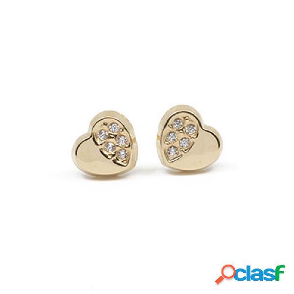 Pendientes Oro 18 Klts. Niña Corazón Circonitas 41a3660