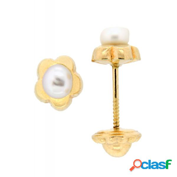 Pendientes Oro 18k Perla Flor Niña P801