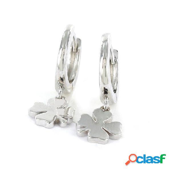 Pendientes Plata Mujer Aro Con Trebol Colgante 9101665