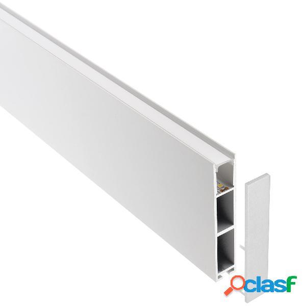Perfil aluminio phanter s1 para tiras led 2 metros blanco