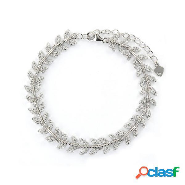 Pulsera Plata Mujer Hojitas Circonitas 9108334