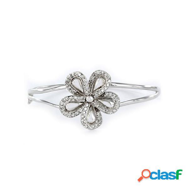 Pulsera Plata Mujer Rígida Flor Circonitas 9057816