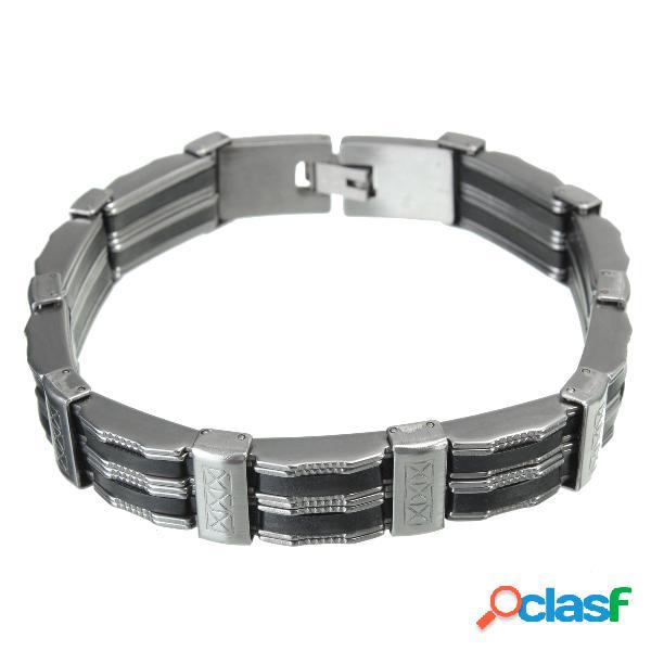 Pulsera de pulsera de acero inoxidable y silicona