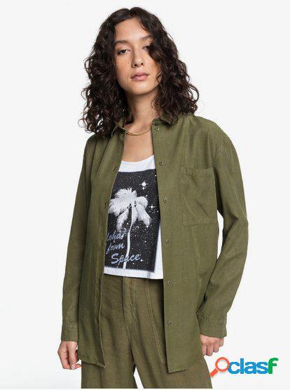 Quiksilver Womens - Camisa de Manga Larga Holgada de Corte