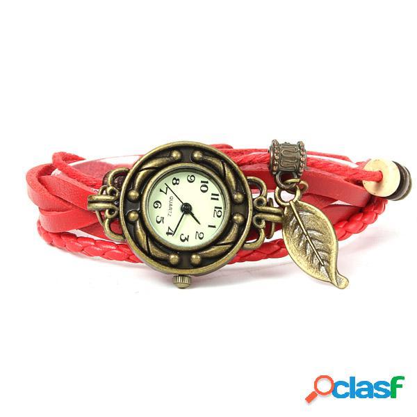 Relojes de pulsera de cuero trenzado de la hoja de