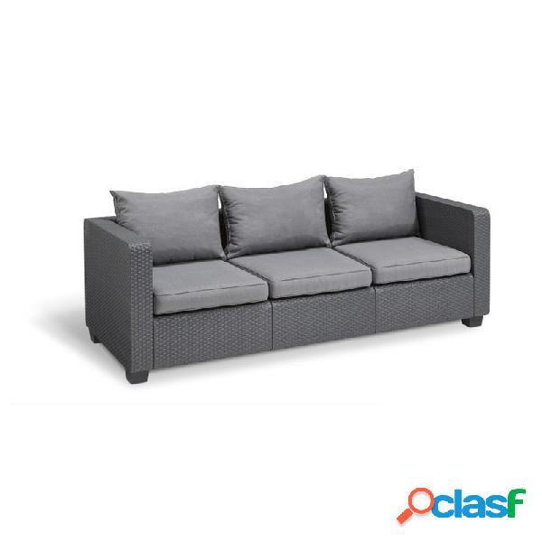 Sofa 3 plazas salta ratan resina grafito