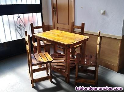 Conjunto rustico mesa 4 sillas
