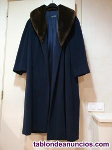 Abrigo azul de vestir de paño con piel sintética cuello