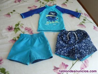 Lote camiseta de baño y dos bañadores bebé