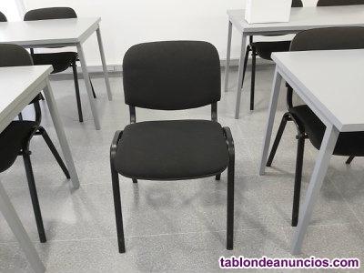 12 x sillas confidente oficina tapizadas negro