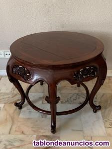 Mesa y sillones tallados a mano madera balinesa
