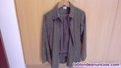 Conjunto chaqueta camisa mujer + pantalon verde oscuro