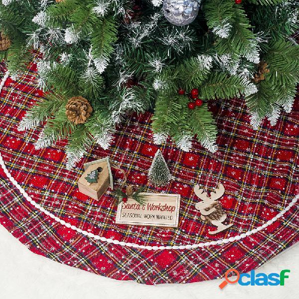 100 / 120cm clásico enrejado rojo árbol de navidad Vestido