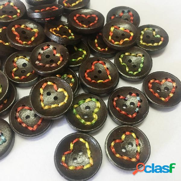 100Pcs 20mm en forma de corazón de madera Botones ronda DIY