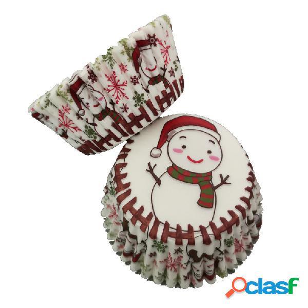 100Pcs Muffin Christmas Snowman Cupcake Wrapper Tazas de