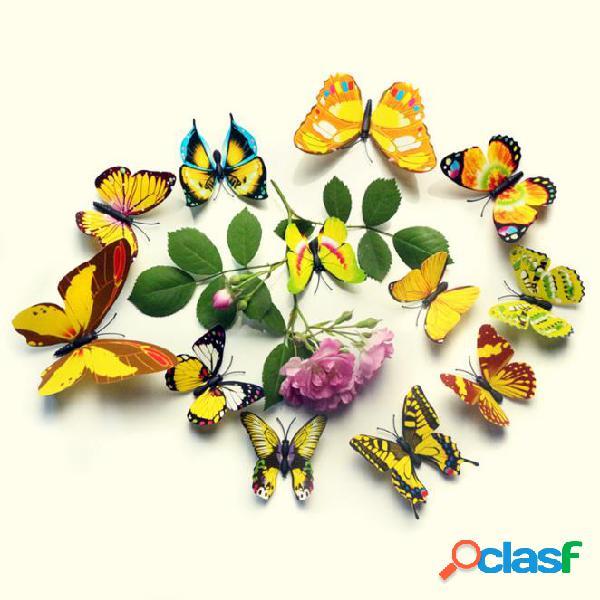 12Pcs 3D color de la pared de la mariposa pegatina imán de