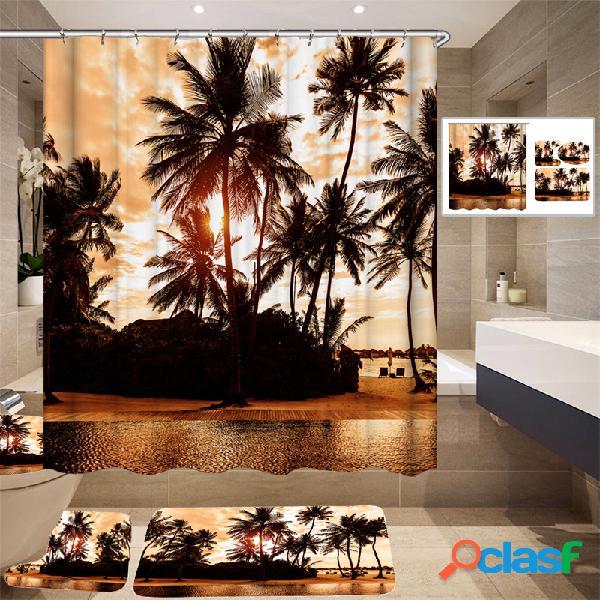 180 * 180cm Tropical Diseño Cortina de ducha / 3 piezas