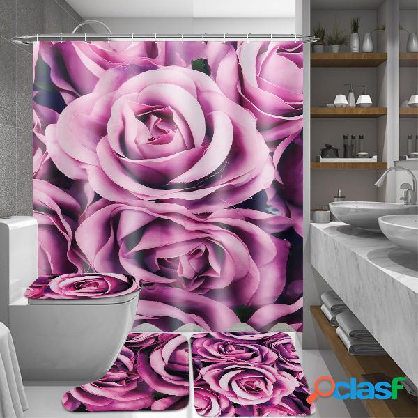 180x180cm Purple Rose Cuarto de baño Cortinas de baño con