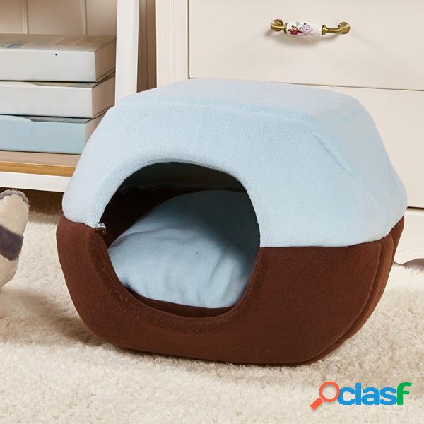 2 en 1 Cat Dog Cave Bed Lavable Pet Bed Soft Pet House