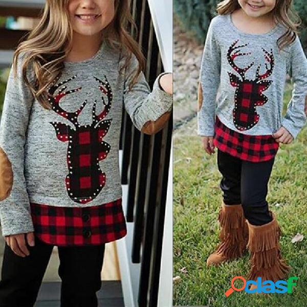 2 piezas de ropa de retazos de niñas pequeñas de navidad