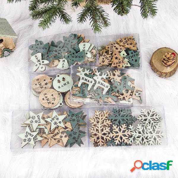 24 piezas creativas de madera hueca adorno de navidad