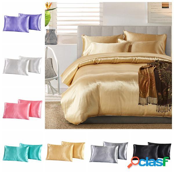 2pcs imitación de seda almohada caso amortiguador de la
