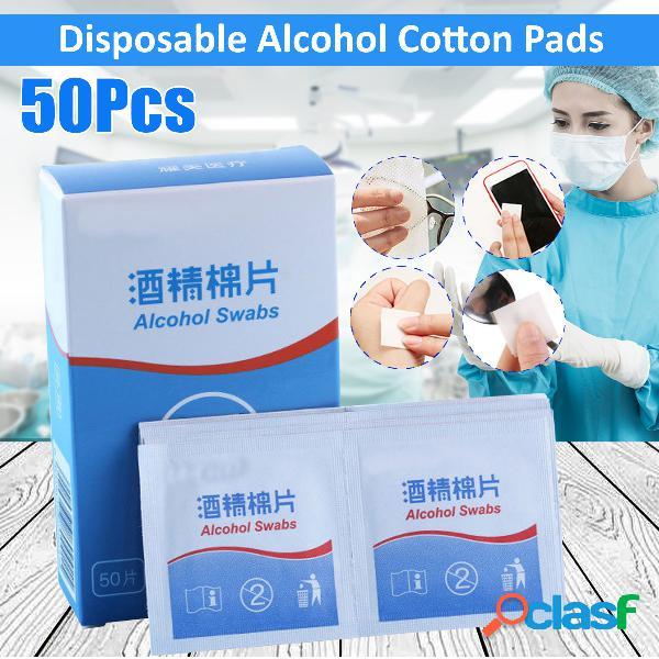 50Pcs Almohadillas de algodón con alcohol Toallitas