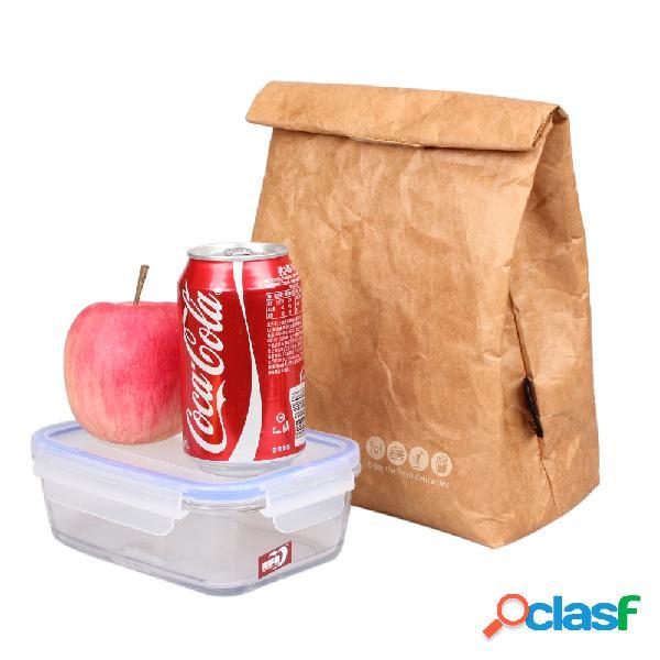 6L Brown Paper Lunch Bag Reusable Box Sack Duradero con