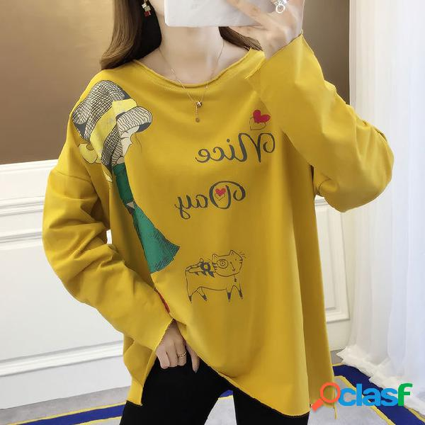 7327 # Camiseta de manga larga Estilo de Hong Kong Retro