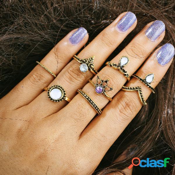 8 piezas de bohemio juego de anillos de regalo vendimia