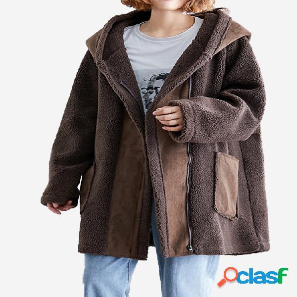 Abrigo Wineter de manga larga con capucha y patchwork de