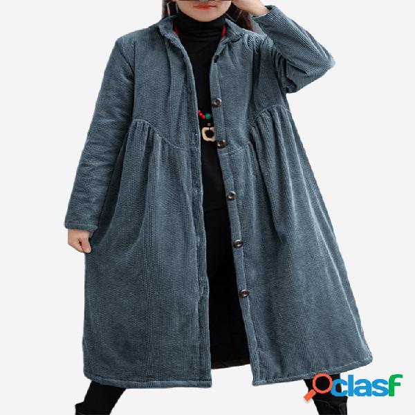 Abrigo acolchado grueso de manga larga de pana de color