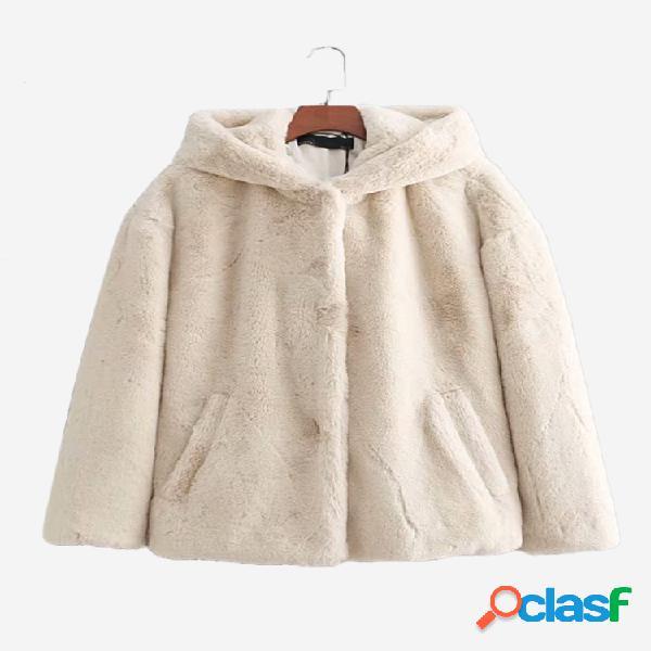 Abrigo casual con capucha de manga larga de piel sintética