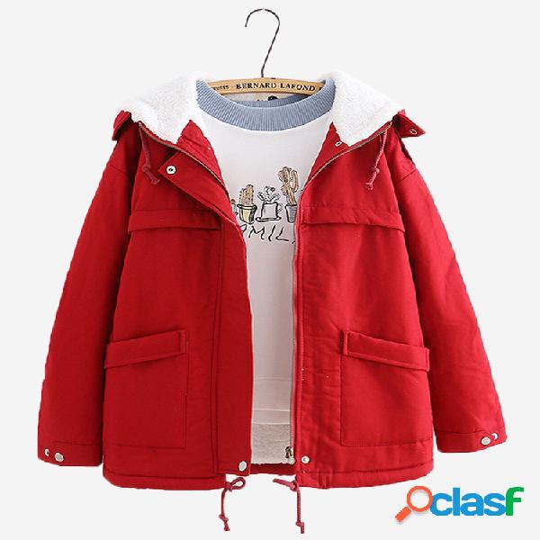 Abrigo casual de algodón con capucha de color sólido para
