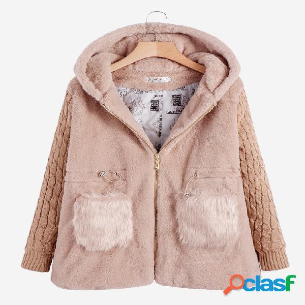 Abrigo con capucha de manga larga otoño invierno casual con