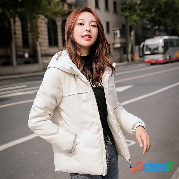 Abrigo corto con capucha de color liso