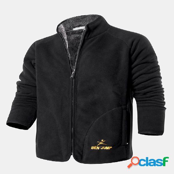 Abrigo de cuello de manga larga cálido de lana con bordado