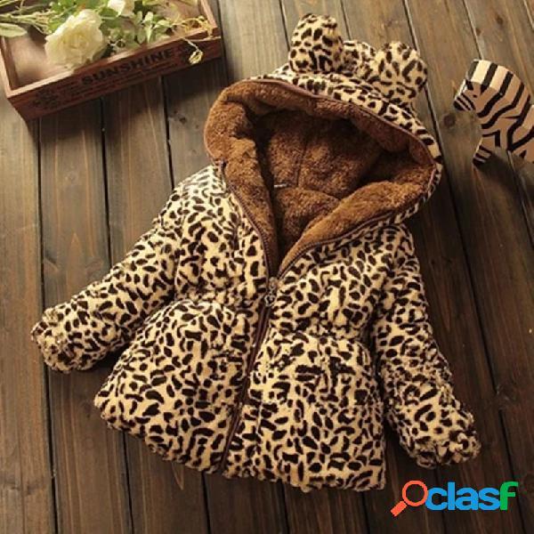 Abrigo de invierno con capucha y estampado de leopardo para