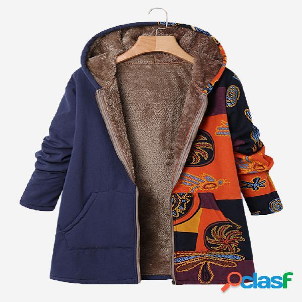 Abrigo de invierno tamaño patchwork con capucha vendimia