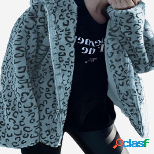 Abrigo de lana de manga larga con cremallera y estampado de